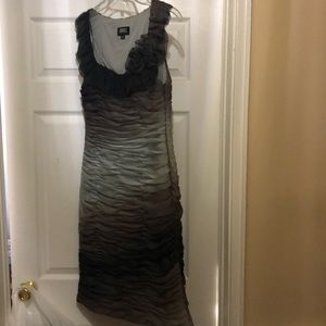 Gray and black and plum color dress